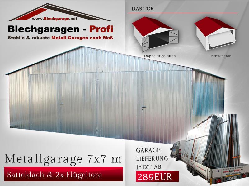 Garage box per due auto 7x7 m id 190403 for Capannone tetto spiovente