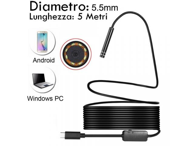 Sonda endoscopica Android per Cellulare e PC - 1/4